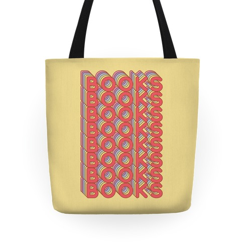 Books Retro Rainbow  Tote
