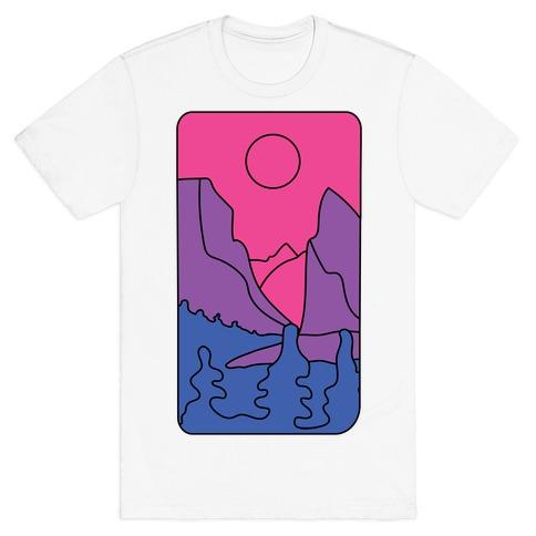 Groovy Pride Flag Landscapes: Bi Flag T-Shirt