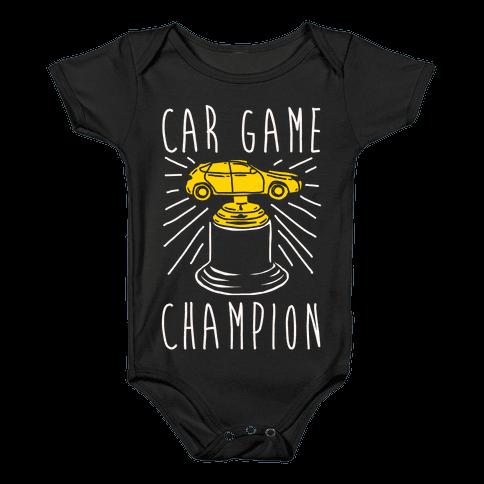 Car Game Champion White Print Baby Onesy