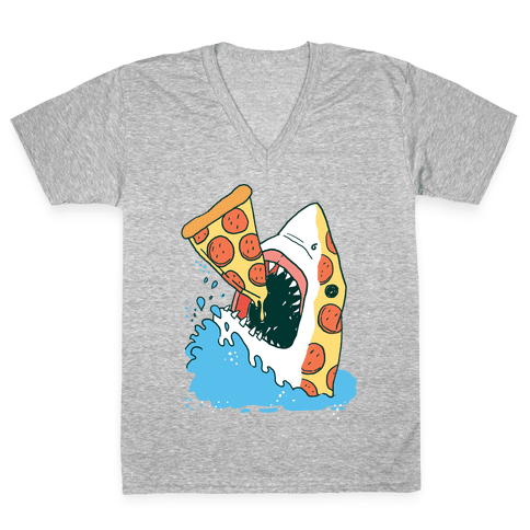 Pizza Shark V-Neck Tee Shirt