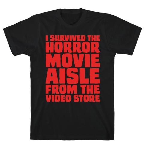 I Survived The Horror Movie Aisle White Print T-Shirt