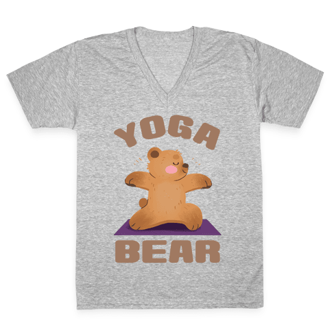 Yoga Bear V-Neck Tee Shirt