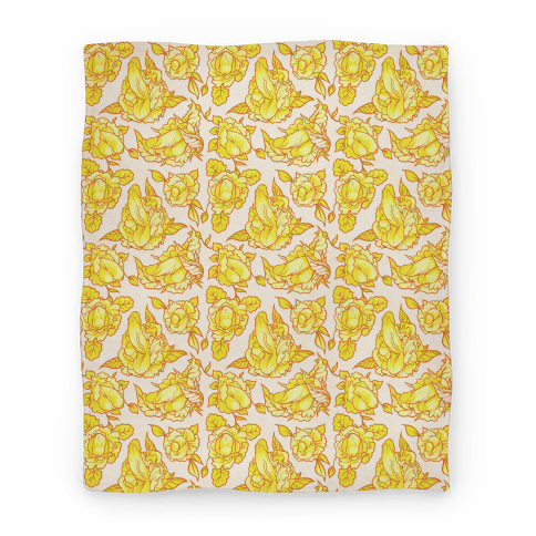 Floral Penis Pattern Yellow Blanket