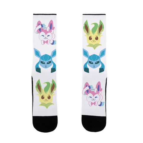 Sylveon, Leafeon and Glaceon Sock