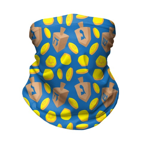 Dreidel and Hanukkah Gelt Pattern Neck Gaiter