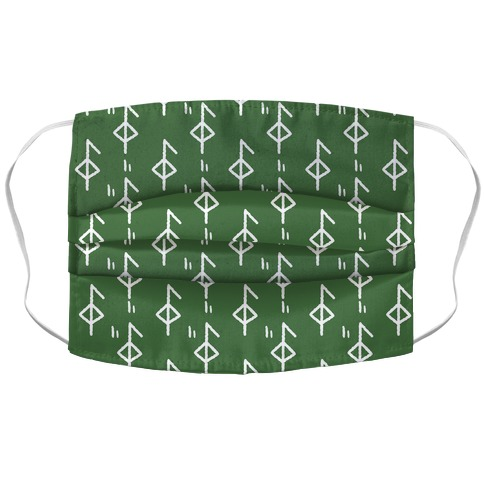 Health Rune Pattern Green Accordion Face Mask