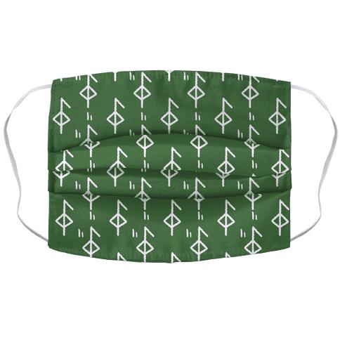 Health Rune Pattern Green Face Mask