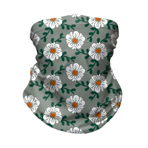 Retro Flowers and Vines Grey Neck Gaiter