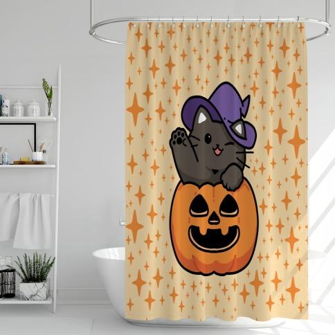 Cute Halloween Cat Shower Curtain
