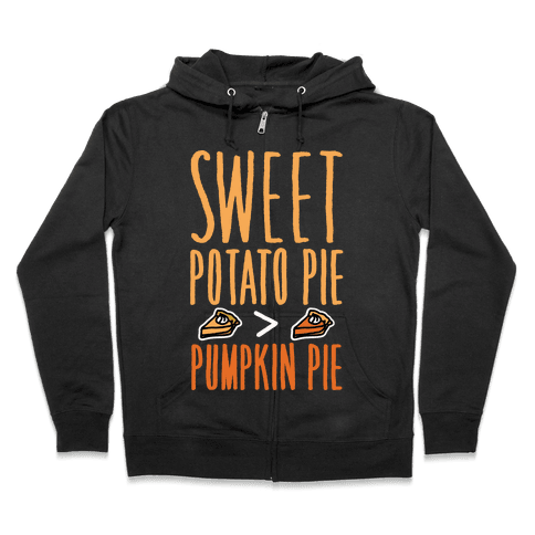 Sweet Potato Pie > Pumpkin Pie White Print Zip Hoodie
