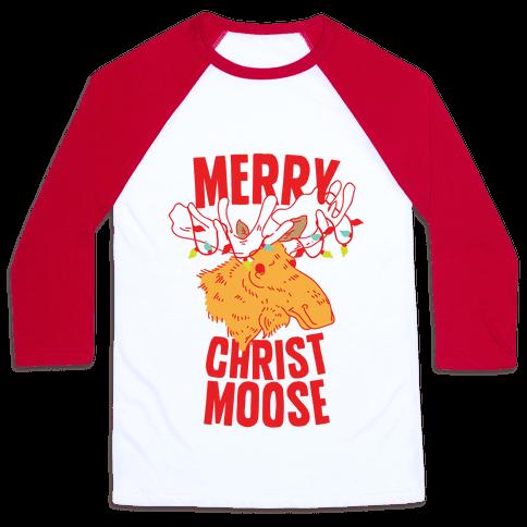 Merry Christ-Moose Baseball Tee