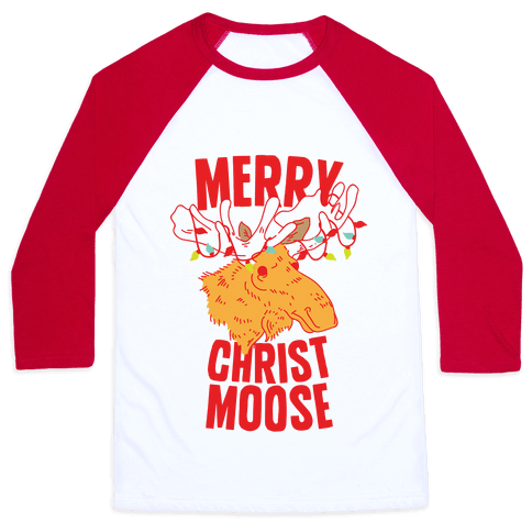 Merry Christ-Moose Baseball Tee