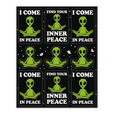 Find Your Inner Peace Alien Stickers Sticker and Decal Sheet