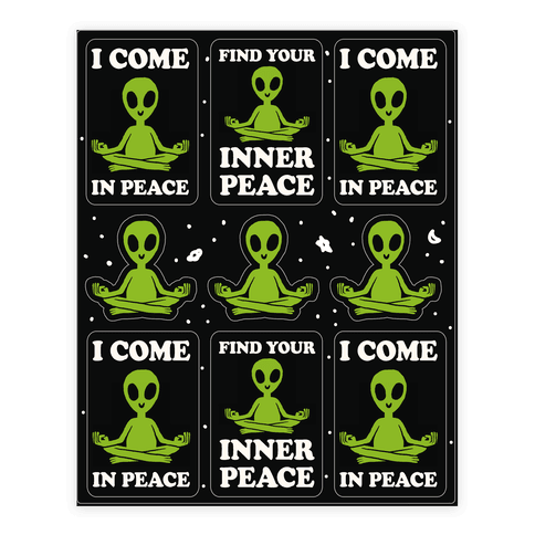 Find Your Inner Peace Alien Stickers Sticker/Decal Sheet