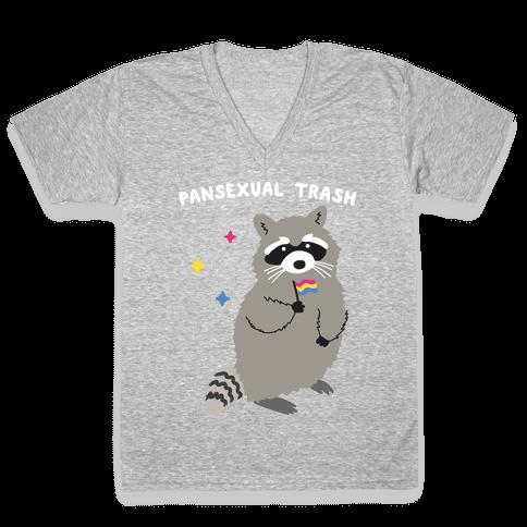 Pansexual Trash Raccoon V-Neck Tee Shirt