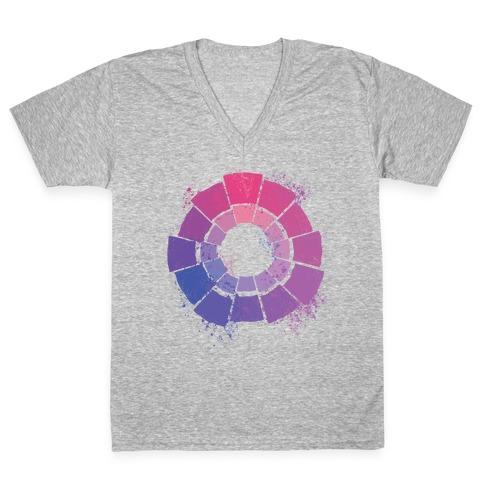 Bi Pride Color Wheel V-Neck Tee Shirt