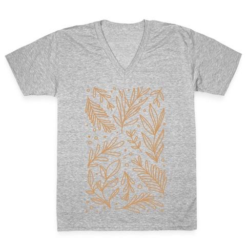 Tan Botanicals V-Neck Tee Shirt
