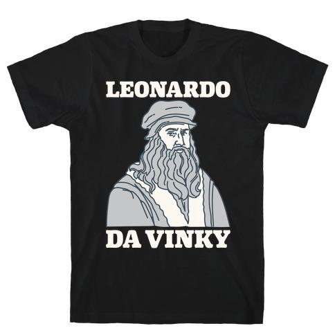Leonardo Da Vinky Parody White Print T-Shirt