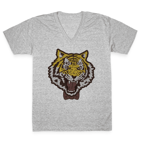 Tiger in a Bow Tie V-Neck Tee Shirt