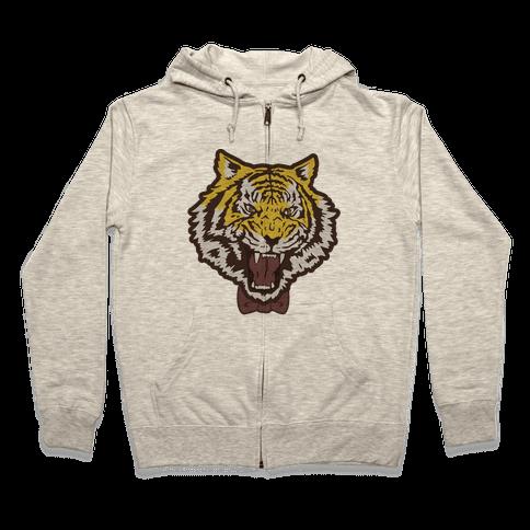 Tiger in a Bow Tie Zip Hoodie