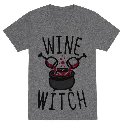 Wine Witch V-Neck Tee Shirt