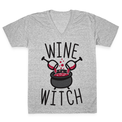 Wine Witch V-Neck Tee Shirt
