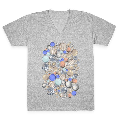 Planets Pattern V-Neck Tee Shirt
