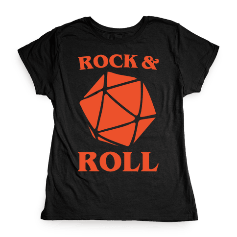 Rock and Roll D & D Parody White Print Womens T-Shirt