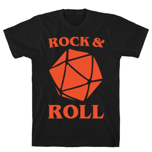 Rock and Roll D & D Parody White Print T-Shirt