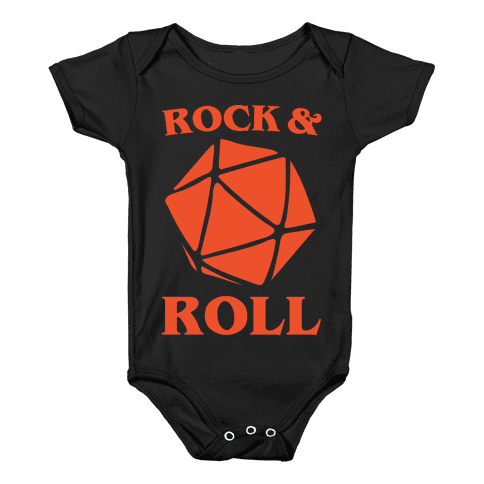 Rock and Roll D & D Parody White Print Baby Onesy