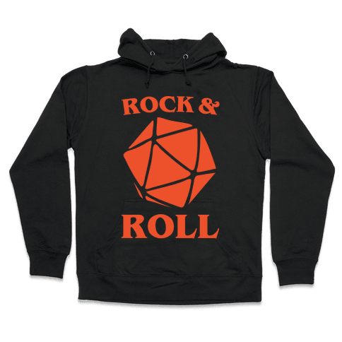 Rock and Roll D & D Parody White Print Hooded Sweatshirt
