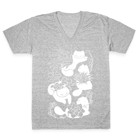 Succulent Cats V-Neck Tee Shirt