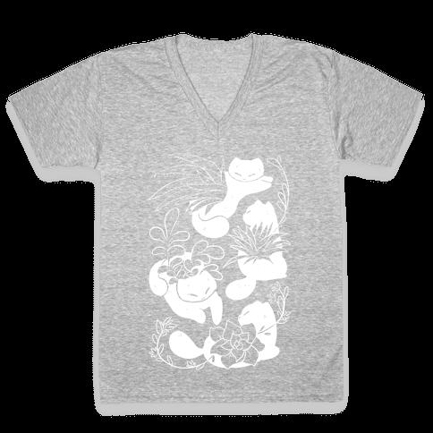 Succulent Cats V-Neck Tee Shirt