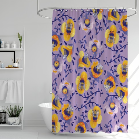 Sleepy Bumble Bee Butts Floral Shower Curtain