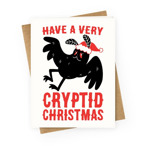 Have a Very Cryptid Christmas - Mothman Greeting Card