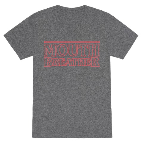 Mouth Breather Parody (Red) V-Neck Tee Shirt