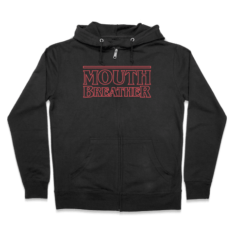 Mouth Breather Parody (Red) Zip Hoodie