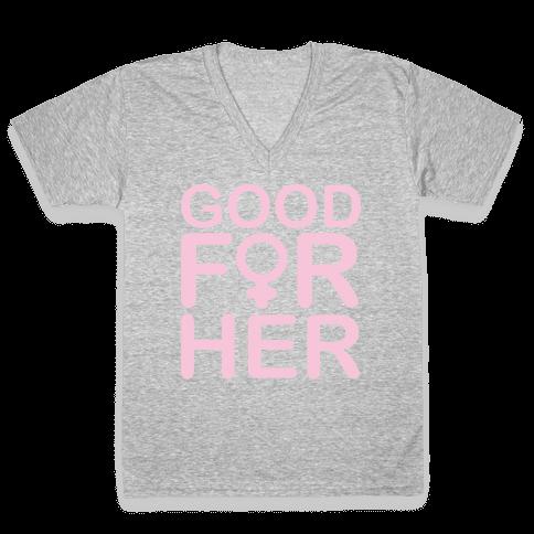 Good For Her White Print V-Neck Tee Shirt