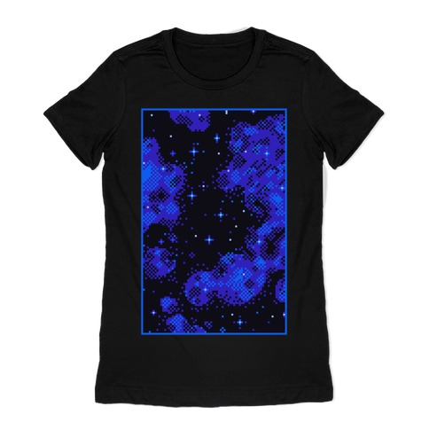 Pixelated Blue Nebula Womens T-Shirt