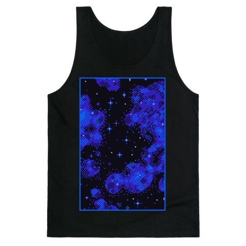 Pixelated Blue Nebula Tank Top