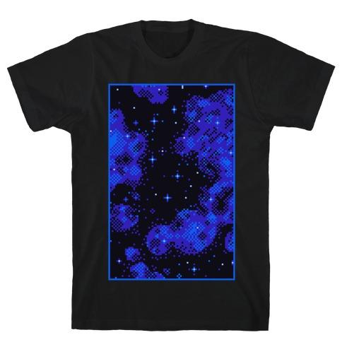 Pixelated Blue Nebula T-Shirt