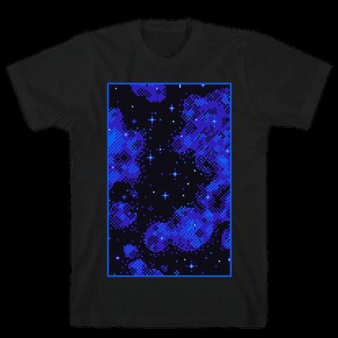 Pixelated Blue Nebula Mens/Unisex T-Shirt