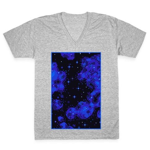 Pixelated Blue Nebula V-Neck Tee Shirt