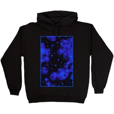 Pixelated Blue Nebula Hooded Sweatshirt