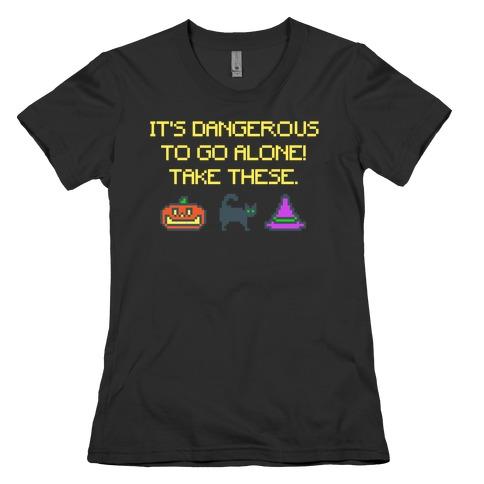 It's Dangerous To Go Alone Take These Halloween Parody White Print Womens T-Shirt