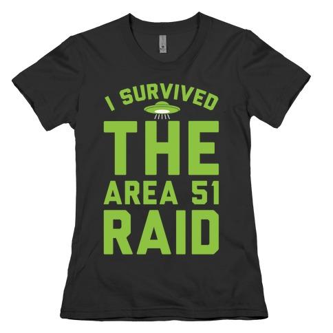 I Survived The Area 51 Raid Parody White Print Womens T-Shirt