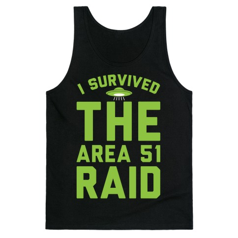 I Survived The Area 51 Raid Parody White Print Tank Top