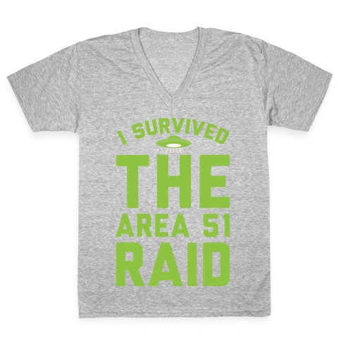 I Survived The Area 51 Raid Parody White Print V-Neck Tee Shirt