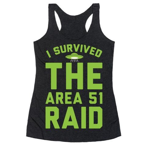 I Survived The Area 51 Raid Parody White Print Racerback Tank Top