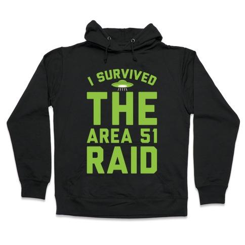 I Survived The Area 51 Raid Parody White Print Hooded Sweatshirt